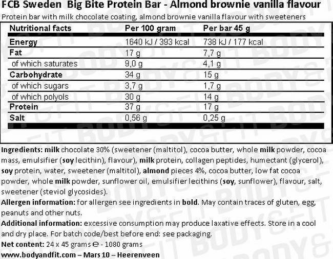 빅 바이트 단백질바 Nutritional Information 1