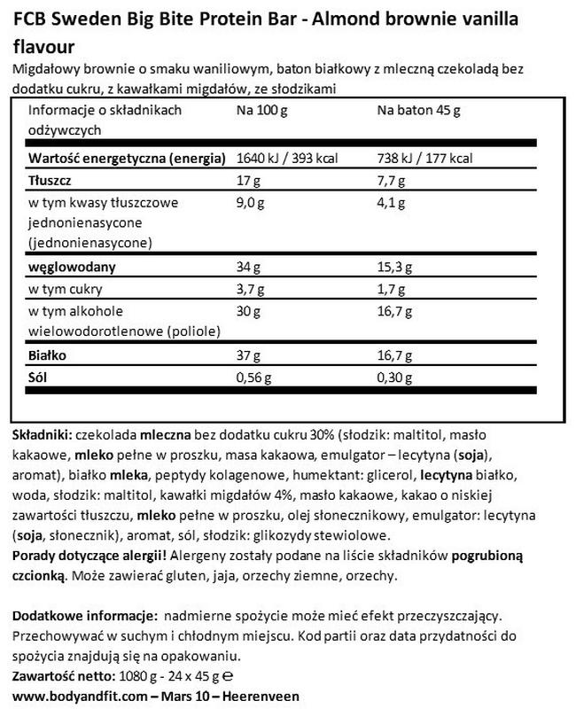 Big Bite Protein Bar Nutritional Information 1