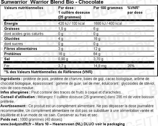 Mélange de protéines Warrior Blend Bio Nutritional Information 1