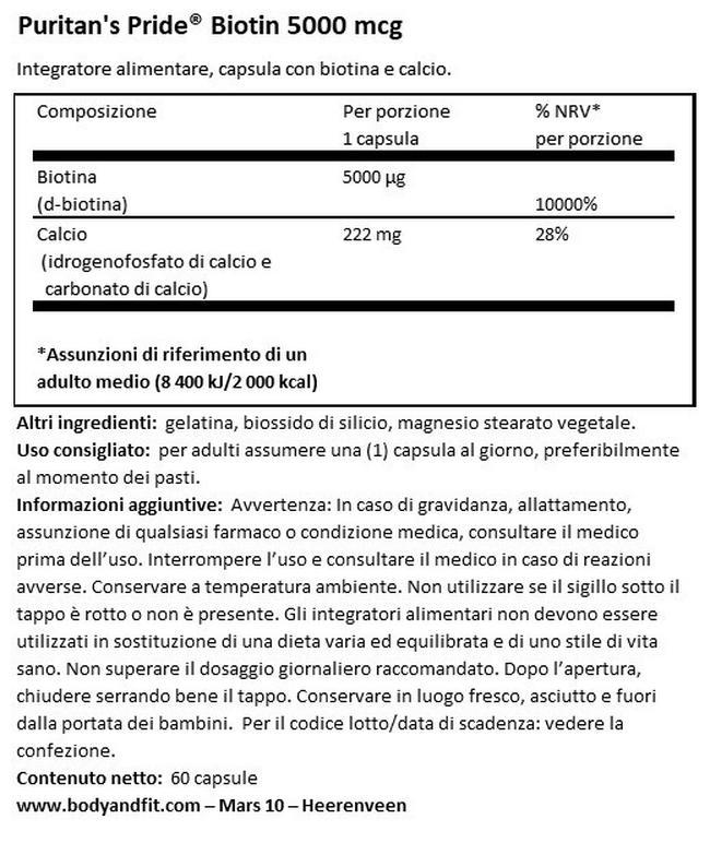 Biotin 5.000µg Nutritional Information 1