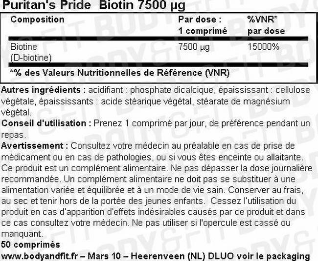 Biotin 7500mcg Nutritional Information 1