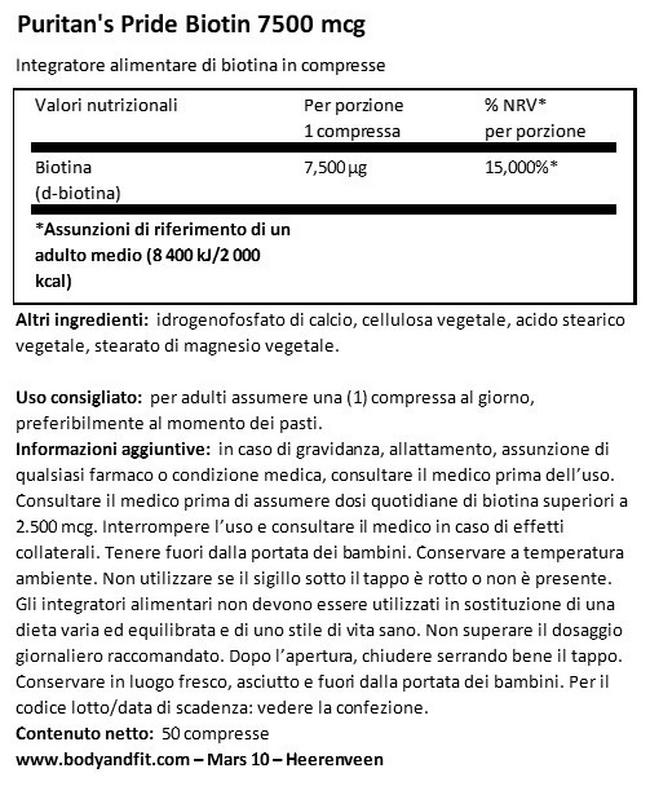 Biotina 7500 mg Nutritional Information 1
