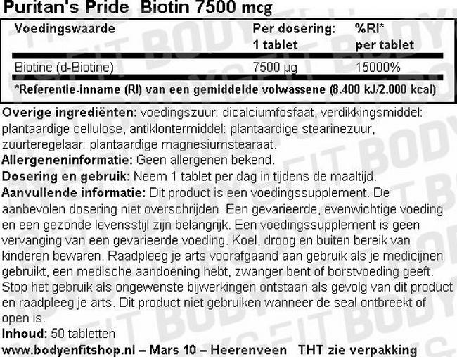 Biotin 7500 mcg Nutritional Information 1