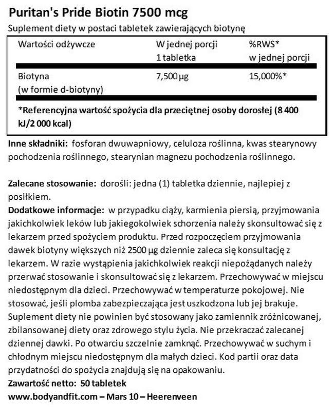 Biotin 7500 µg Nutritional Information 1