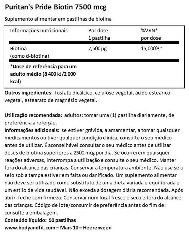 Biotin 7500µg Nutritional Information 1