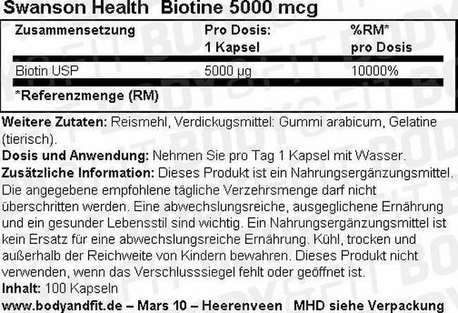 Biotin 5000 mcg Nutritional Information 1