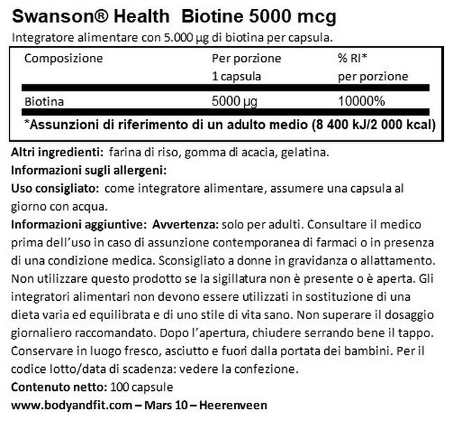 Biotina 5 mg Nutritional Information 1
