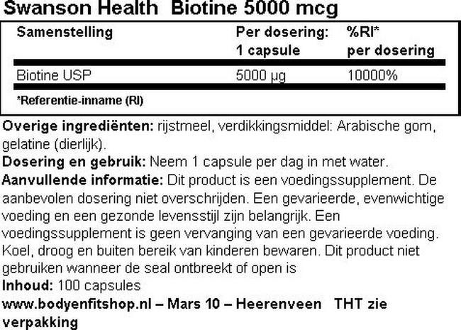 Biotine 5000 mcg Nutritional Information 1