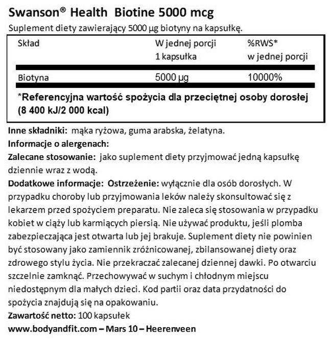 Biotin 5000 µg Nutritional Information 1