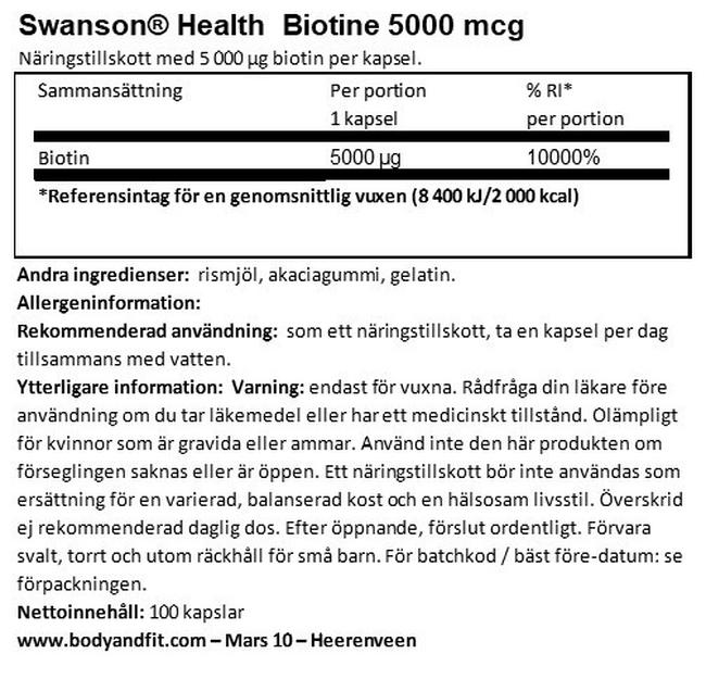 Biotin 5000mcg Nutritional Information 1