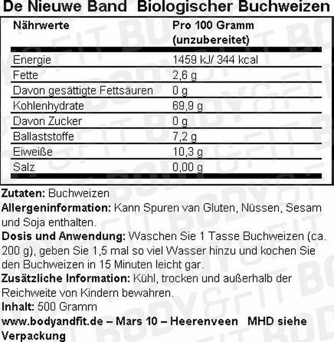 Bio Buchweizen Nutritional Information 1
