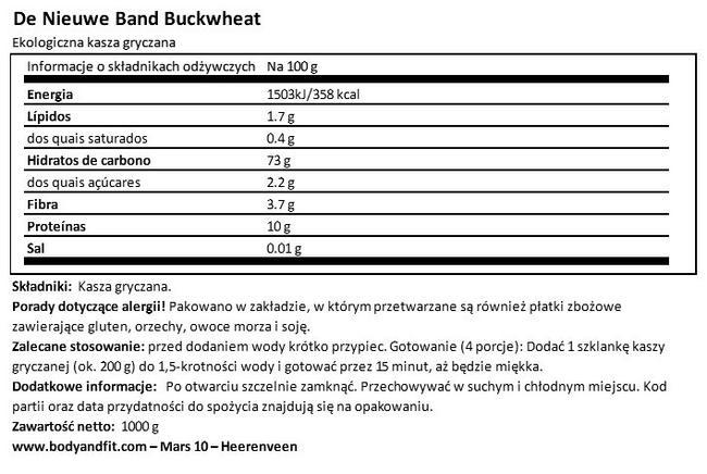 Kasza gryczana Nutritional Information 1