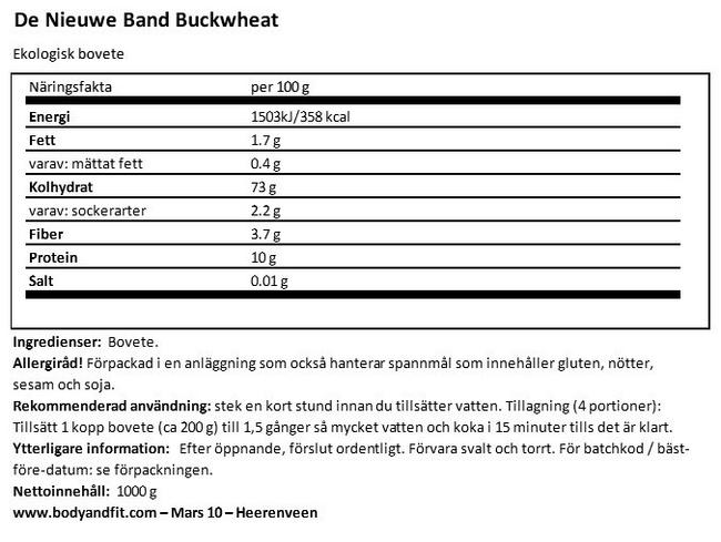 Buckwheat Nutritional Information 1