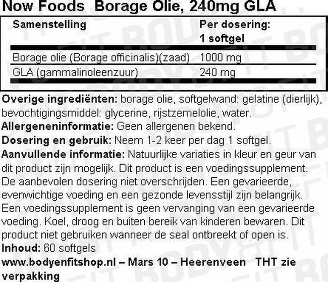 Borage Oil, 240mg GLA Nutritional Information 1