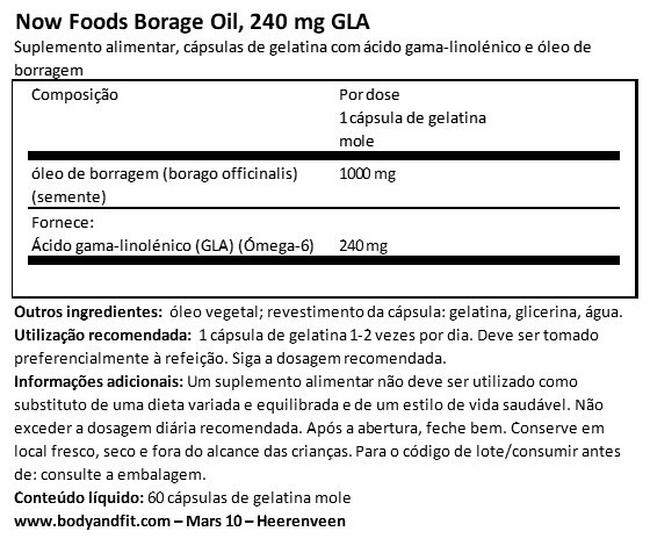 Óleo de borragem, 240 mg de GLA Nutritional Information 1
