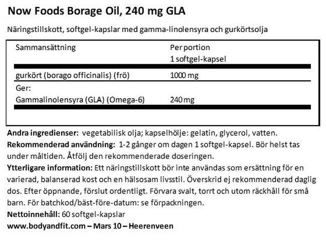 Borage Oil, 240mg GLA Nutritional Information 1