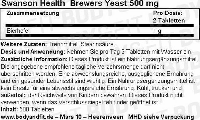 Bierhefe 500 mg Nutritional Information 1