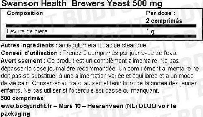 Brewers Yeast (levure de bière) 500mg Nutritional Information 1
