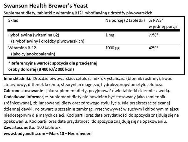 Drożdże piwne 500 mg Nutritional Information 1