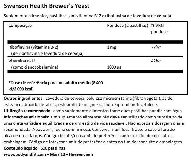 Brewer's Yeast 500mg Nutritional Information 1