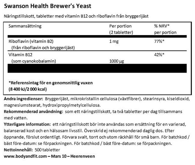 Brewer's Yeast 500 mg Nutritional Information 1