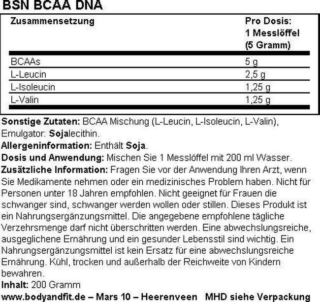 BSN BCAA - 200g (40 Portionen) 2 für 1 Nutritional Information 1