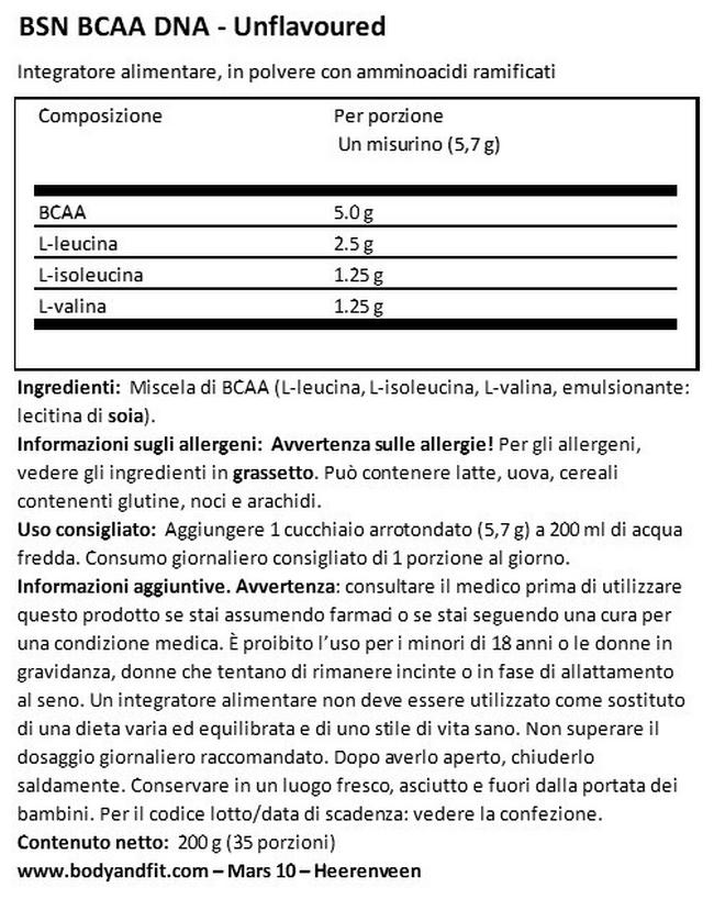 BSN BCAA - 200g (40 prozioni) 2 per 1 Nutritional Information 1