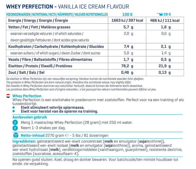 Whey Perfection - Red Velvet (2.268kg) Nutritional Information 1