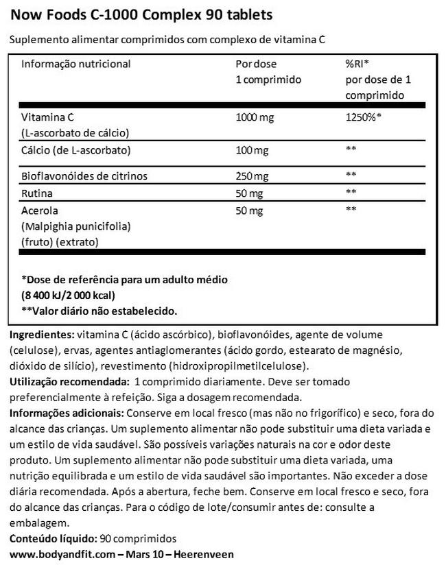 Vitamin C-1000 (Buffered) Nutritional Information 1