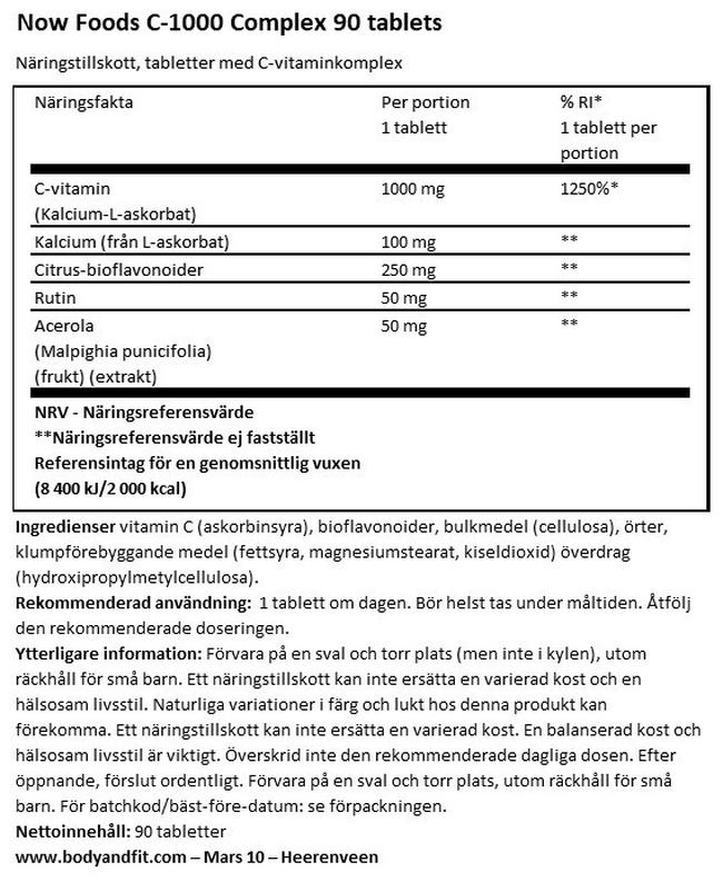 Vitamin C-1000 (buffrat) Nutritional Information 1