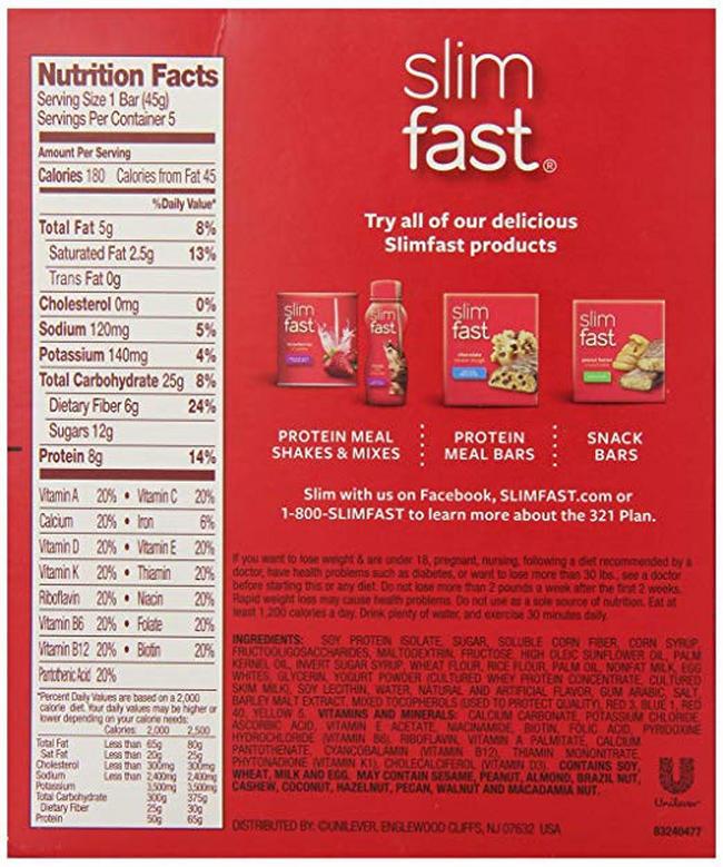 ミールリプレースメントバー Nutritional Information 1