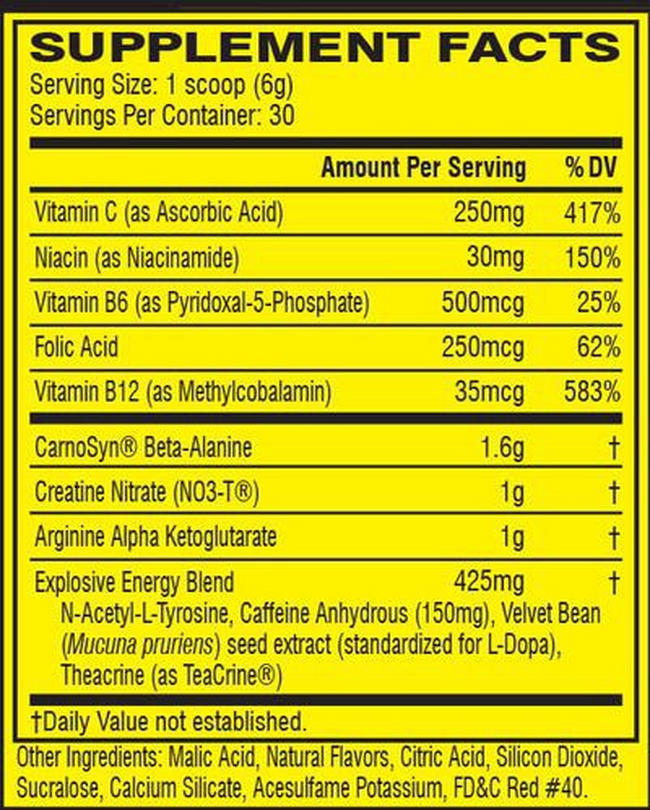 C4 Original Pre-workout Nutritional Information 4