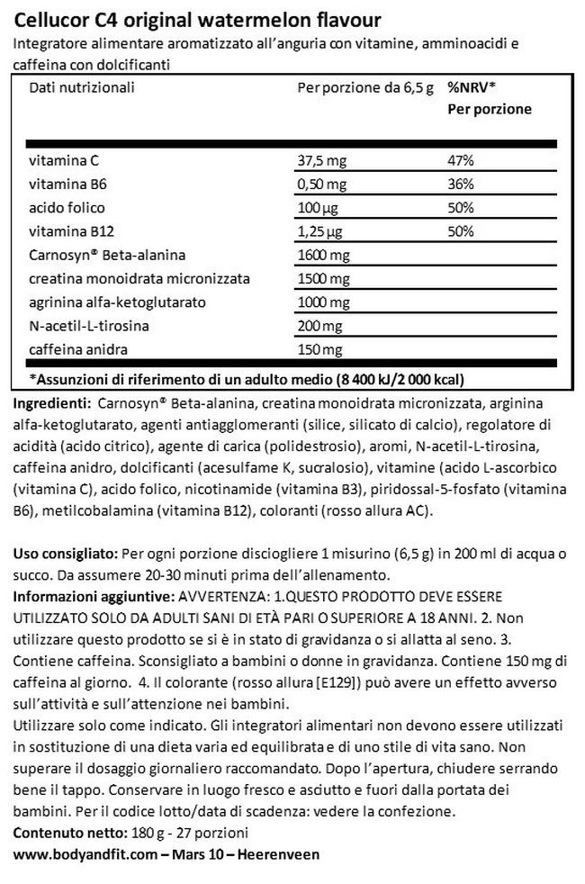 C4 Original Pre-Workout Nutritional Information 1