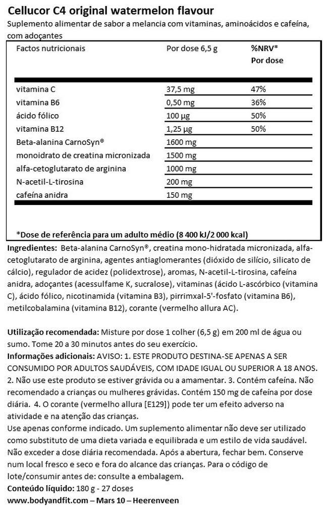 C4 Original Pré-exercício Nutritional Information 1