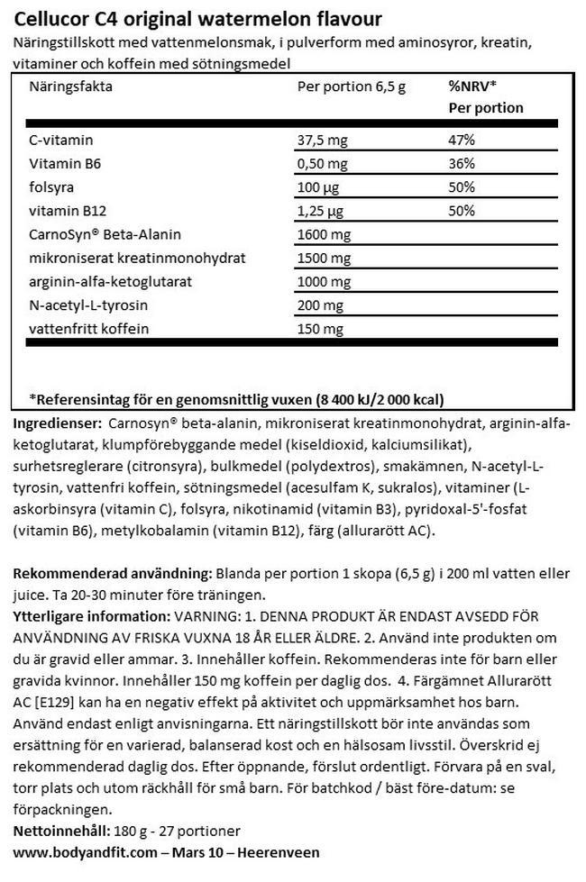 C4 Original Pre-Workout Nutritional Information 1