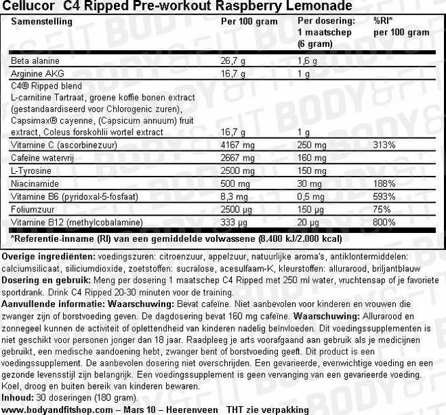 C4 Ripped Pre-Workout Nutritional Information 1