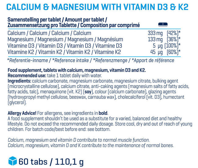 Calcium and Magnesium (30 tablets) Nutritional Information 1