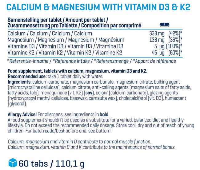 Calcium Magnesium + Vitamin D3 and K2  Nutritional Information 1