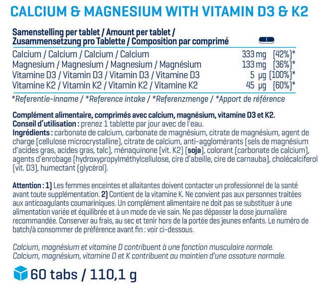 Calcium & Magnesium (30comprimés) Nutritional Information 1
