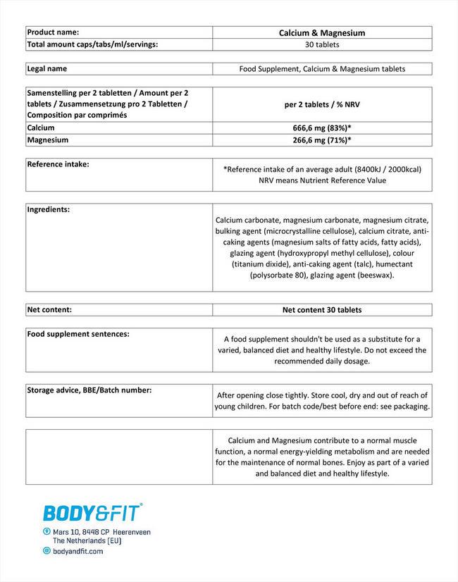 칼슘 및 마그네슘 (30정) Nutritional Information 1