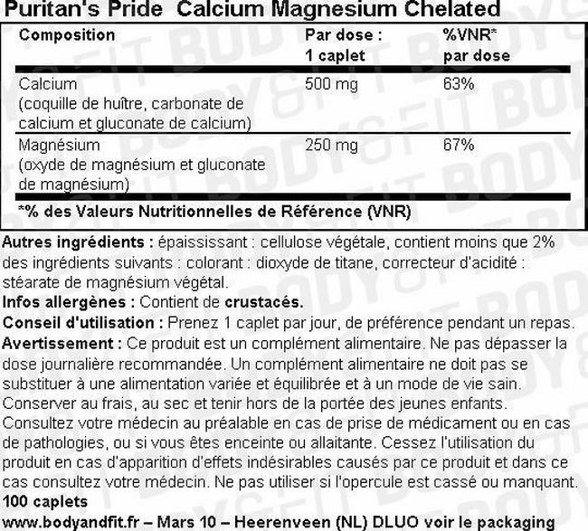 Calcium magnésium chélaté Chelated Calcium Magnesium Nutritional Information 1