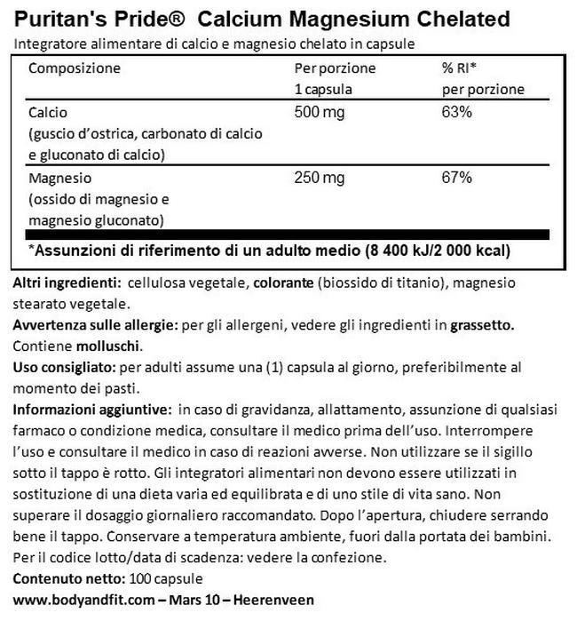 Chelated Calcium Magnesium Nutritional Information 1