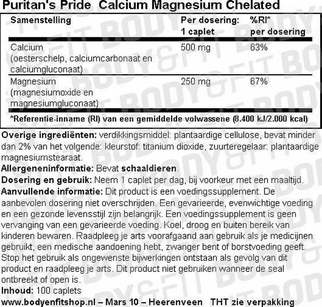 Calcium Magnesium Chelated Nutritional Information 1