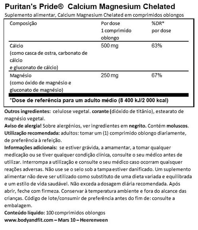 Cálcio Magnésio quelado Nutritional Information 1