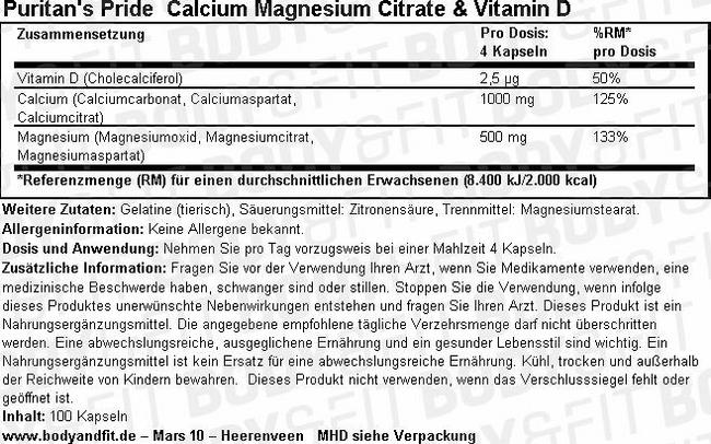 Calcium Magnesium Citrate & Vitamin D Nutritional Information 1