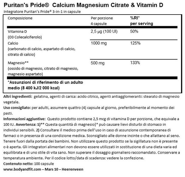 Calcio, Magnesio Citrato & Vitamina D Nutritional Information 1