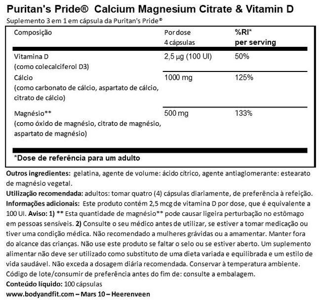 Calcium Magnesium Citrate & Vitamin D Nutritional Information 1