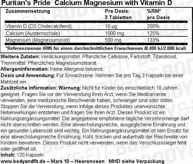 Calcium Magnesium mit Vitamin D Nutritional Information 1
