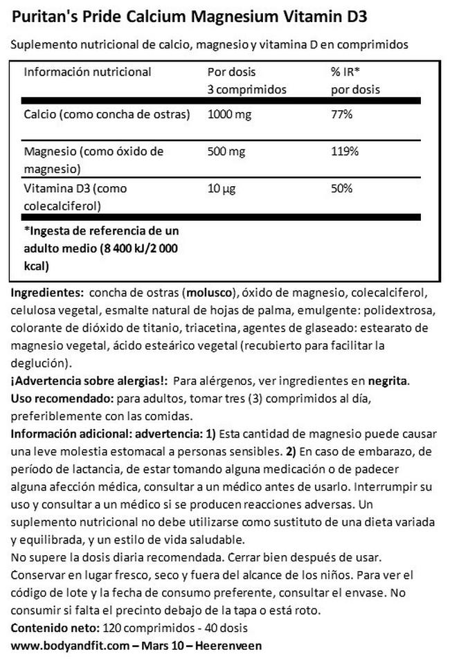 Calcium Magnesium with Vitamin D Nutritional Information 1