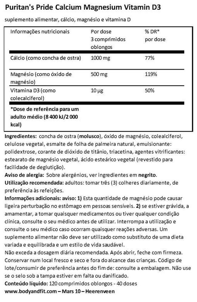 Calcium Magnesium with Vitamin D Nutritional Information 1